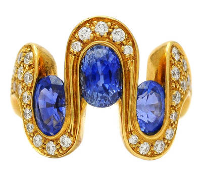 1970s Space Age Psychedelic Sapphire 18K Ring