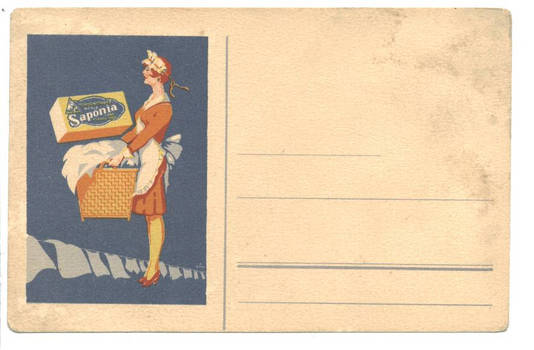 WWII SAPONIA Soap commercial ad postcard RARE