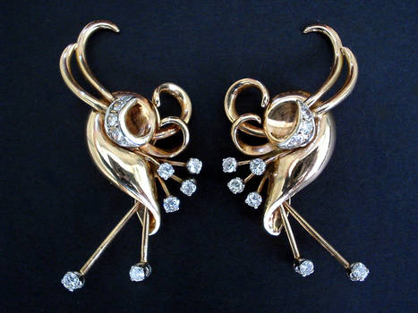 French Art Deco RETRO 1.5ct Diamond Earrings