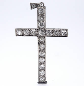 Fine Victorian Diamond Platinum Cross Pendant