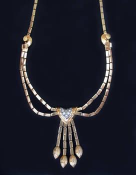 RETRO Art Deco French Diamond Necklace / Gold