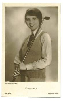 1930 Movie Star Evelyn Holt Golf postcard RR