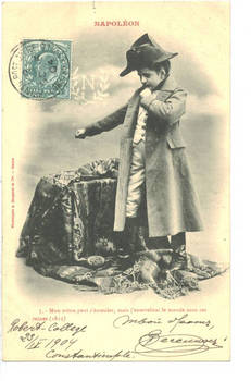 1904 Turkey Britain NAPOLEON kid postcard N7