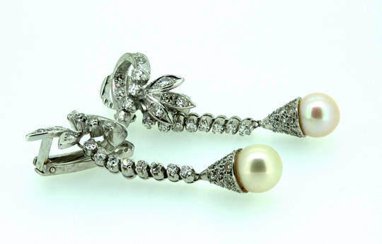 1940 Natural Saltwater Pearl Diamond Earrings