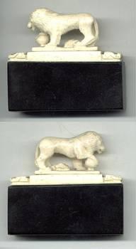 Antique French Empire LION ivory sculpture RR