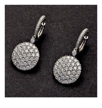 SABBADINI 10Ct Diamond Hoop Dangle Earrings