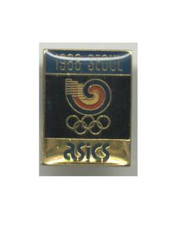 1988 Korea Olympic Sponsor mascot pin ASICS 1