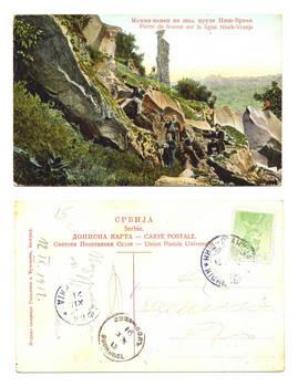 1912 Serbia Nisch railroad Greeting postcard