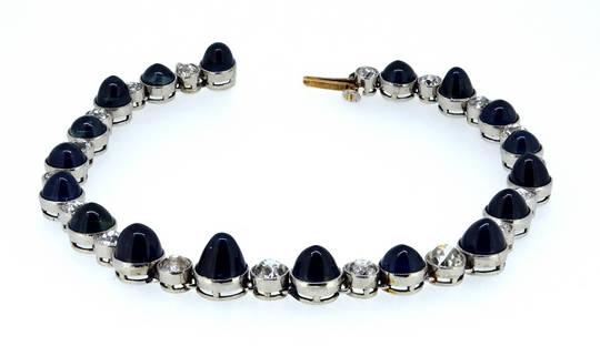 Antique 25Ct Burma Sapphire Diamond Bracelet