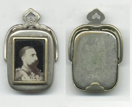 1880 Bulgaria Royal King photo medallion tag