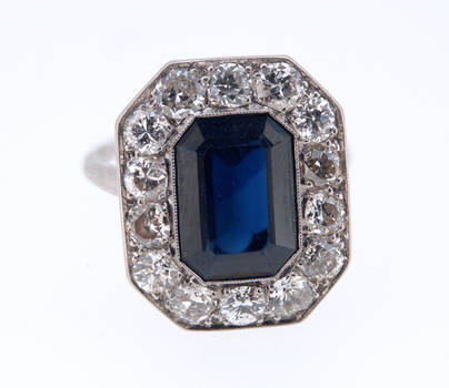 Antique Natural Burma Sapphire Diamond Ring