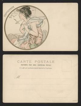 Art Nouveau ALPHONSE MUCHA postcard signed R