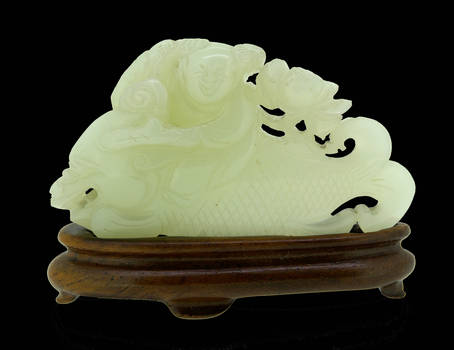 Chinese Qing Boy Fish White Jade Carving