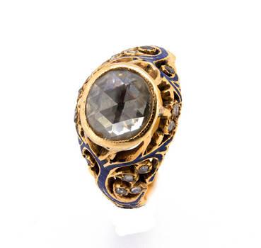 Georgian Enamel Diamond Flower Gold Ring