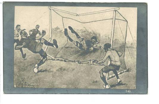 1927 Football Soccer comic sketch postcard RR