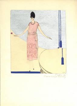 1922 Art Deco Llano Florez pochoir print RARE