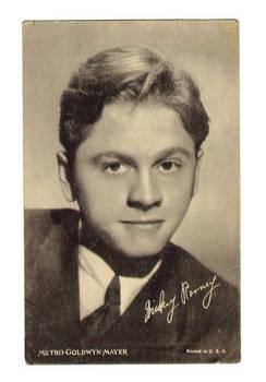 Vintage MGM Movie Star Mickey Rooney postcard