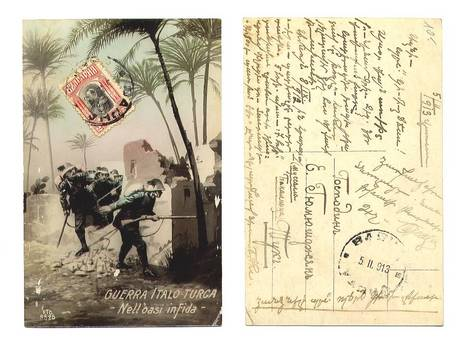 1913 Italy Turkey War patriotic postcard NICE