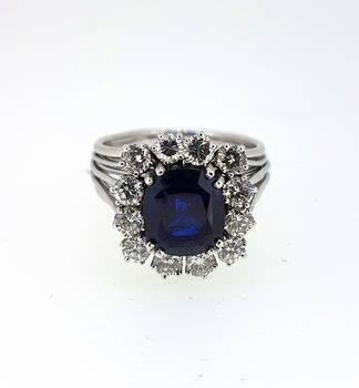 Retro 1950s Burma Sapphire and Diamond Ring