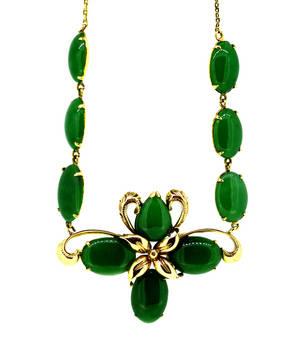 Vintage Grade A Green Jadeite Jade Necklace