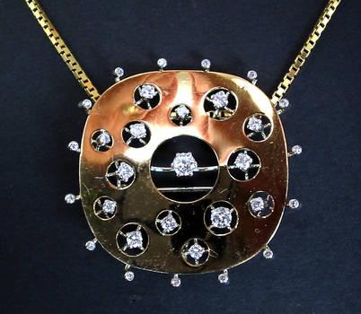 Space Age Celestial Diamond Necklace Pendant