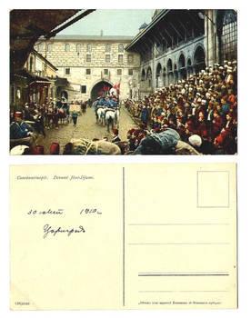 1910 Turkey Army parade patriotic postcard 1