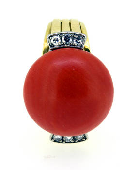 1940 Retro Sardinian Red Coral Modernist Ring