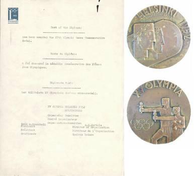 '52 Helsinki Olympic participant medal DOCS 2