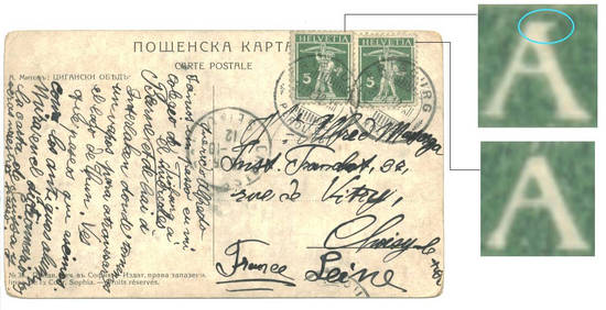 1912 Switzerland Swiss stamp error postcard !