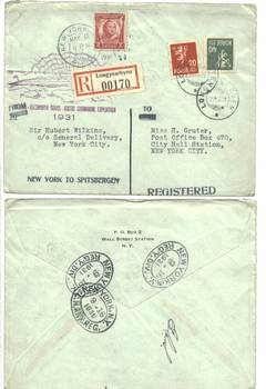 1931 Wilkins Submarine polar cover signed N1