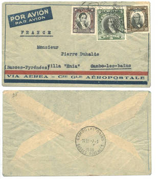 1933 Chile France Airmail ovpt stamp cover RR