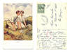 1918 Artist signed GOLF couple postcard LOST?