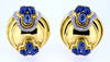Vintage Italian Oval Sapphire Gold Earrings