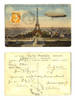 1914 France EIFFEL tower & zeppelin postcard