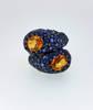 Blue & Orange Burma Sapphire Crossover Ring