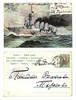 1903 Artist NAVY Army battle ship postcard RR