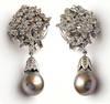 Vintage Large Tahitian Pearl Diamond Earrings