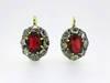Georgian Red Spinel Rose Cut Diamond Earrings